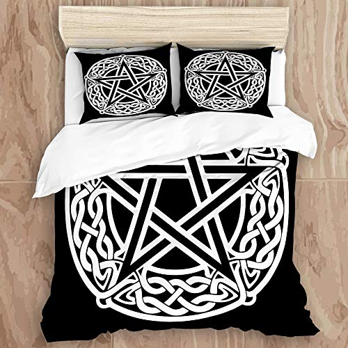 MIGAGA2 Duvet Cover Set,Celtic Knot Pentagram Black Star,Decorative 3 Piece Bedding Set with 2 Pillow Shams, Queen Size