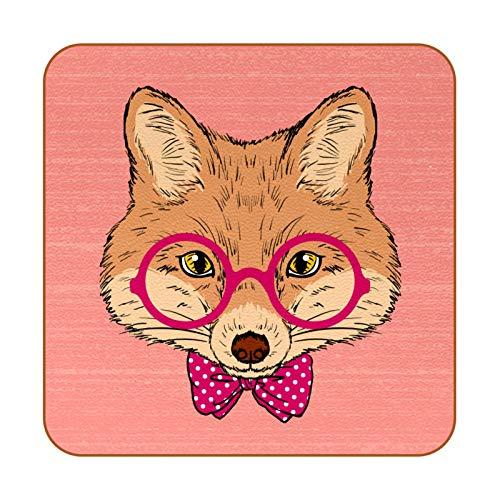 Juego de 6 posavasos de diseño único para posavasos de mesa con posavasos antideslizantes en la parte trasera de la taza, juegos de regalo, lindo zorro hipster con lazo de gafas
