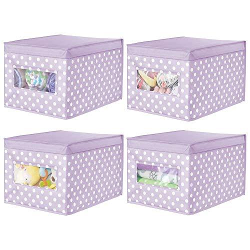 mDesign Juego de 4 Cajas organizadoras de Tela – Caja de almacenaje apilable para Guardar Ropa y Zapatos o para ordenar armarios – Organizador de armarios con Tapa y ventanilla – Violeta/Blanco
