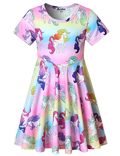 Short Sleeve Unicorn Dresses Little Girls 6 7 Kids Summer Swing Beach Clothes
