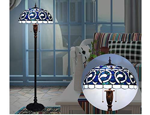 AMOS Europäische Tiffany-Stil-Stehlampe, Schlafzimmer, Wohnzimmer, Vintage schmiedeeiserne blaue Glas-Stehlampe, Led-Stehleuchte im mediterranen Stil