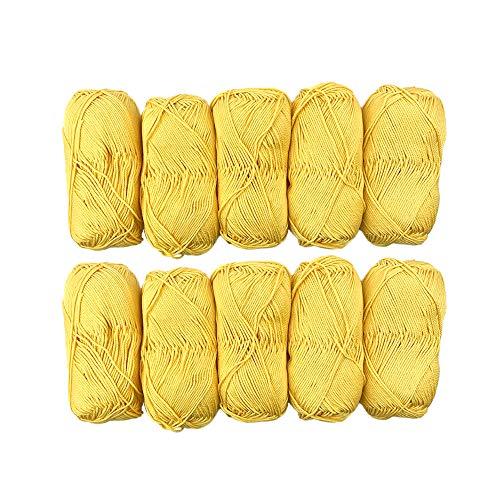 TRICOT CAFE' Offerta Gomitoli di Cotone Cotone Stock in Confezione da 10pz Made in Italy 100% Cotone/Giallo 7228