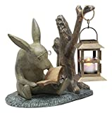 "Ebros Verdi Green Aluminum Whimsical Bunny Rabbit Reading Book by Midnight Candle Lantern Statue 10"" Tall Bookworm Rabbit Candleholder Home Lawn Garden Patio Decor"