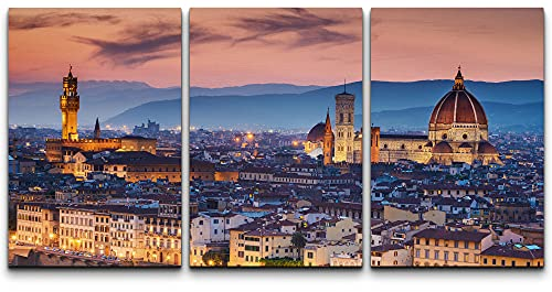 """wall26 - 3 Piece Canvas Wall Art - Beautiful Sunset Over Cathedral of Santa Maria Del Fiore (Duomo), Florence, Italy - Modern Home Decor Stretched and Framed Ready to Hang - 24""""x36""""x3 Panels"""