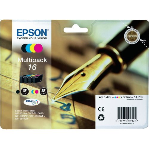 Epson C13T16264010 Cartuccia d'Inchiostro Multipack 16 per Workforce WF 2010 W/2510 WF/2520 Nf/2530 WF/2540 WF, con Amazon Dash Replenishment Ready