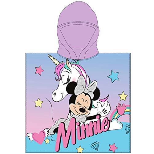 Various Poncho - Toalla Infantil con Capucha de niño y niña Licencia Oficial Disney (Minnie Mouse y Unicornio)