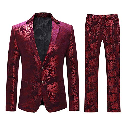 Cloudstyle Men's Dress Suit Single-Breasted 2 Pieces Slim Fit 2 Buttons Suits Red