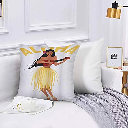 Cushion Cover Throw Pillow Aloha Lettering with a Happy Ethnic Woman Plays Ukulele Throw Pillow Covers Set 45x45 cm for Couch Chair Bedroom