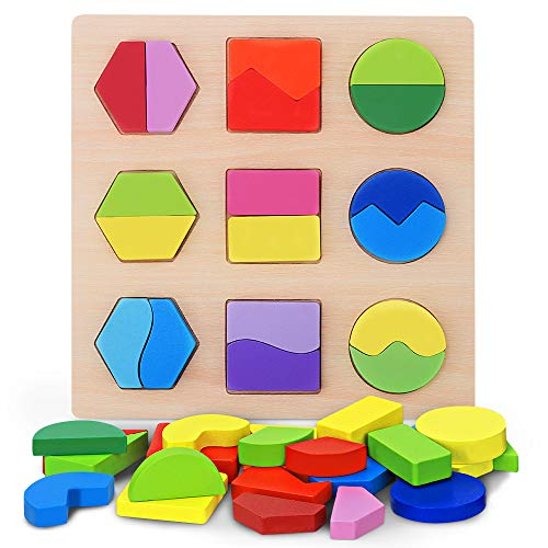 Japace Giocattoli da Puzzle in Legno Forme Geometriche Gioco Educativo per Bambini Montessori Blocchi Corrispondenza Educazione Apprendimento in età Prescolare Puzzle (Type C)