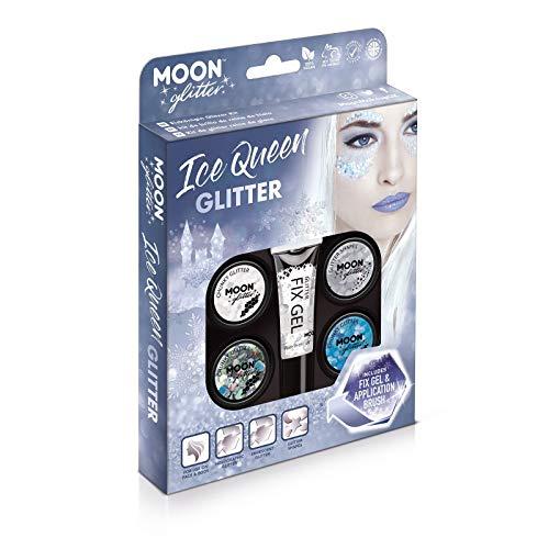 Eiskönigin Glitzer-Set von Moon Glitter - 100% kosmetischer Glitzer für Gesicht, Körper, Nägel, Haare und Lippen