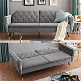 Scandi Scandinavian Chic Modern Grey Velvet Comfortable Space Saving Three Seater Sofa Bed Furniture Click Clack Sofa Bed Cushions Settee Couch Mid Century Golden Accent Legs Stitched Arms