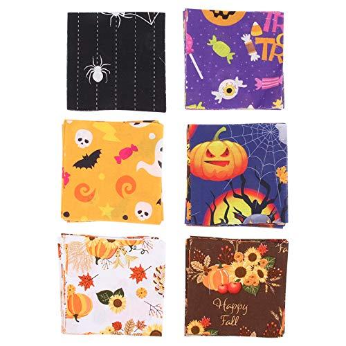 HEALLILY 60 Hojas de Tela Estampada de Calabaza de Halloween para Hacer Bolsas Elaboración de Bricolaje Festival de Costura Cojines Decorativos Tela de Algodón para Acolchar Patchwork