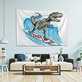 N/ A Tapisserie Wandbehang Raumdekoration – Dinosaurier Surfer Wave großer Wandteppich für Schlafzimmer Wandteppich Garten 152,4 x 127 cm