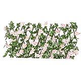Flor artificial de detección Valla, Seto Panel de cobertura de madera plegables enrejado Valla Con artificiales Hojas de flores, decoración de jardín Valla de pantalla de privacidad rosa