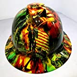 Wet Works Imaging Customized Pyramex Full Brim NEON Zombie Trump Hard HAT with Ratcheting Suspension Custom LIDS Crazy Sick Construction PPE
