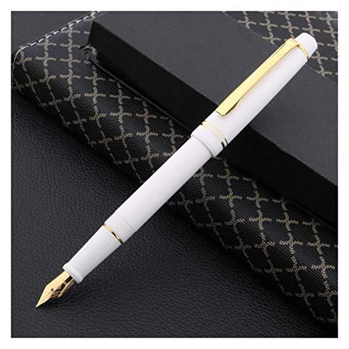 Plumas estilográficas Pluma plástica Pluma Clásicos de rotación Golden Spinning Iridium Signature Pen Office Supplies (Color : White)