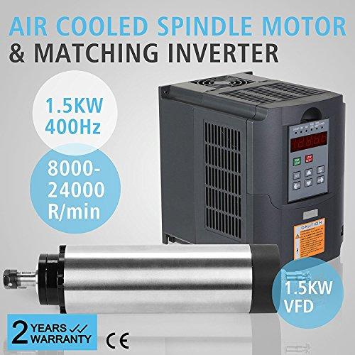 Preisvergleich Produktbild ZauberLu 1, 5KW Luftgekühlten Spindelmotor Für CNC Gravieren ER11 Air Cooled Spindle Motor und 1, 5KW Frequenzumrichter VFD Inverter Antrieb