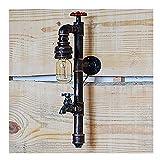 LLLKKK Tubo de agua Luz de pared Industrial Viento Grifo Forma Bar Restaurante Metal Hierro Pipa, Apliques de pared Set de 2 Luz decorativa/Código de la materia: 889