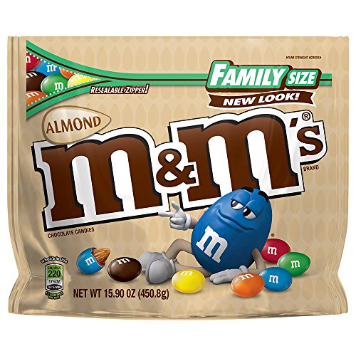 M&M'S Almond Chocolate Candy Family Size 15.9-Ounce Bag (Pack of 8)