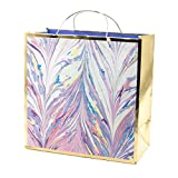 Hallmark Signature 10' Large Gift Bag (Purple and Pink Marble with Gold Foil) for Birthdays, Bridal Showers, Mothers Day, Retirements, All Occasion