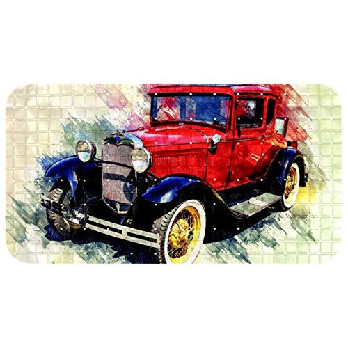 ASDFSD Alfombrilla de baño extralarga, antideslizante con ventosas, sin látex, resistente y duradera, lavable a máquina, coche antiguo