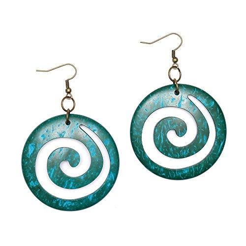 Idin pendientes hechos a mano - turquesa espirales modelo, hecho de coco (aproximadamente 7 cm, Aro 5 cm)
