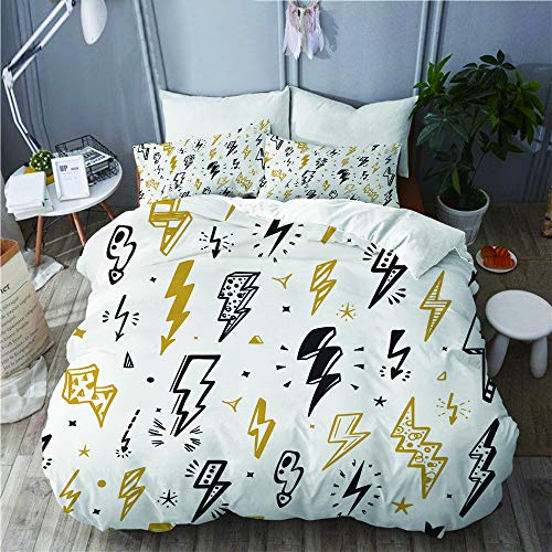BEITUOLA bedding - Duvet Cover Set,Vector Lightning Bolts Signs Seamless Pattern,Microfibre Duvet Cover Set 135 X 200cm with 2 Pillowcase 50 X 75cm