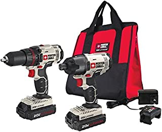 PORTER-CABLE 20V MAX Cordless Drill Combo Kit and Impact Driver, 2-Tool (PCCK604L2)