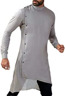 Men Muslim Thobe Long Sleeve Button Arabic Arab Clothing