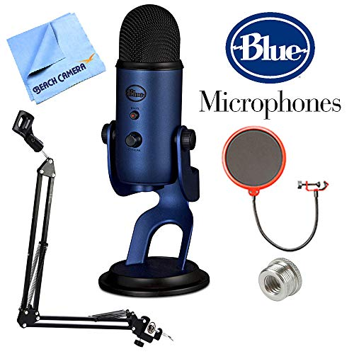Blue Microphones Yeti USB Microphone Four Pattern Midnight Blue (Yeti Midnight Blue) + Suspension Boom Scissor Arm Stand + Microphone Wind Screen + Mic Stand Adapter + Microfiber Cloth