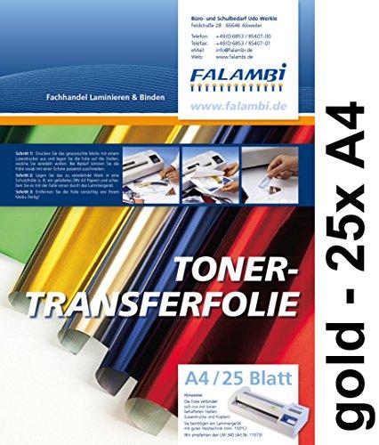 FALAMBI metallic Toner-Thermo-Transferfolie DIN A4 für Laminiergerät, Gold, Tonertransferfolie (Gold - 25 x A4)