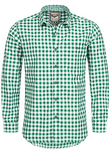 Stockerpoint Trachtenhemd OC-Franzl | kariert | Regular Fit (XL, Dunkelgrün)