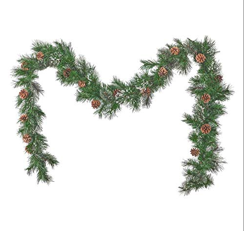 HomeZone Luxury 9ft Christmas Garland With Pinecones Artificial Pine Decoration Wreath Deluxe X-Large Thick 9ft Artificial Decorated Festive Xmas Garland Seasonal Home Decor