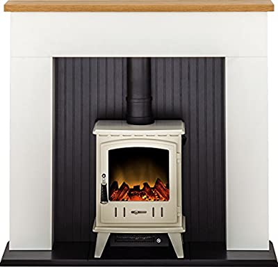 Adam Innsbruck Stove Suite in Pure White with Aviemore Electric Stove in Cream Enamel, 48 Inch