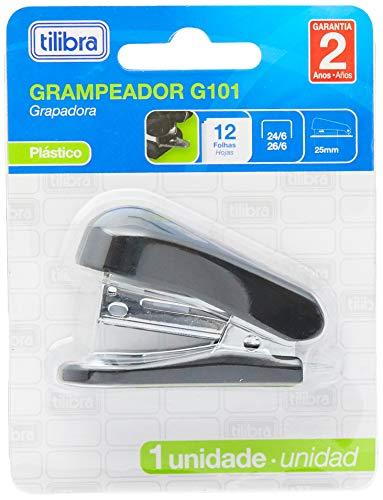 Grampeador 12 Folhas Mini com Extrator G101 Preto,Tilibra - 1 un