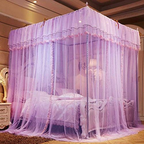 LJQLXJ Mosquitera Style 4 Corner Post Bed Canopy Mosquito Net Full Netting Bedding Bedroom Decoration Hanging Bed Valance,Purple