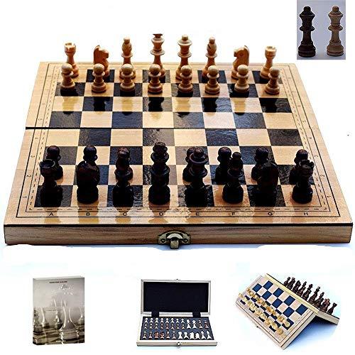 Cchess Set Ajedrez de Madera Plegable tamaño L, S con Tablero de ajedrez magnético Libro de enseñanza Gratis 2 Queen Juegos fáciles de Jugar (Color: Wood, Size: L)