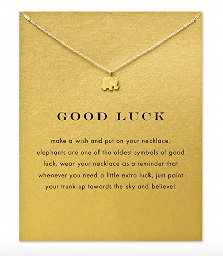 Remi Bijou Halskette Elefant \'Good Luck\' Talisman Gold Farbe - mit der Geschenkkarte
