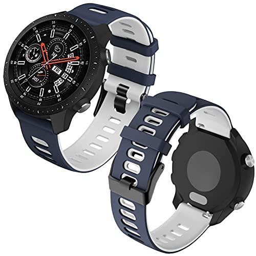 Th-some 22mm Repuesto de Correa para Samsung Galaxy Watch 3 (45mm)/Gear S3 Frontier/Classic/Galaxy Watch 46mm/Huawei GT/GT2 46mm, Banda de Reloj de Silicona Bicolor Ajustable (Azul blanco)