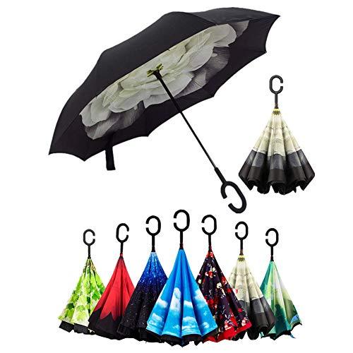 Doble Capa de Paraguas Invertido, Sol y la lluvia Paraguas, Parasol de Protección Contra el Viento Ultravioleta de Reversa