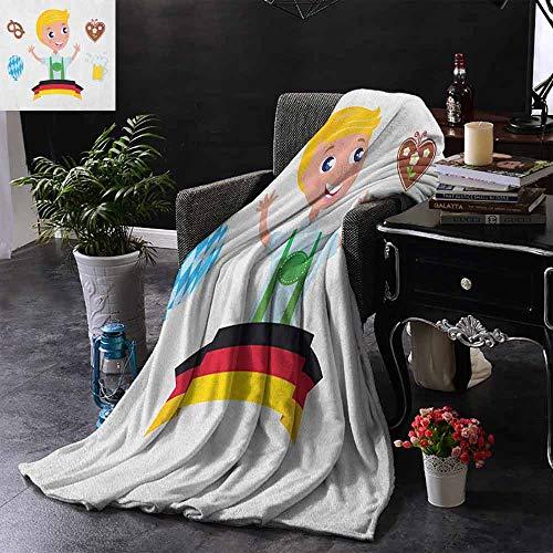 ZSUO Kinderdeken Beierse Jongen met Blond Haar met Oktoberfest Symbolen Bier Ballon en Pretzel Omkeerbare Zachte Stof voor Bank Sofa Gemakkelijk Verzorging
