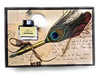 DEZIINE Brass Plated 0.5mm Fine Nib Peacock Feather Quill Dip Pen Writing Ink Set Stationery with Box Gift/Ink Bottle