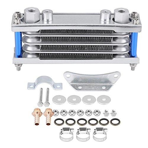 Qiilu Oil Cooler, Universal Motorcycle Engine Radiador de enfriamiento del enfriador de aceite del motor para moto Dirt Bike 50CC-200CC(Plata)