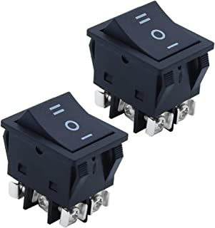 KingYH 2 Stück Wippschalter Schalter EIN/AUS/EIN 6 Polig 25 A 125 /250V Einrastbare Schalter für Limousine Boot und Lastwagen Auto Kippschalter Elektronisches Instrument Schwarz