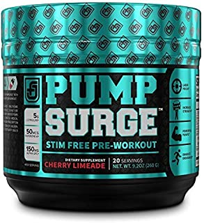 PUMPSURGE Caffeine-Free Pump & Nootropic Pre Workout Supplement, Non Stimulant Preworkout Powder & Nitric Oxide Booster,20...