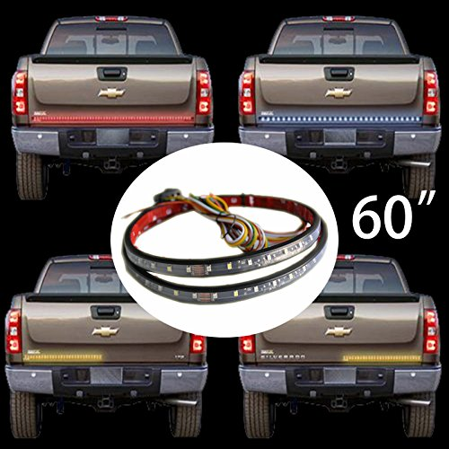 Barre lumineuse LED pour hayon de voiture - 152,4 cm - Rouge, jaune, blanc - Feux stop, feux de freinage, clignotants - 60 LED rouges jaunes et 30 LED blanches.