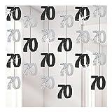 Gifts 4 All Occasions Limited SHATCHI-1120 Shatchi-6 x 70e anniversaire Guirlande décorative à suspendre Noir