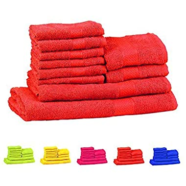 Trident Soft and Light 100% Combed Cotton 400 GSM 10-Pieces (Bath, Hand & Wash Cloth) Towel Gift Set, Red