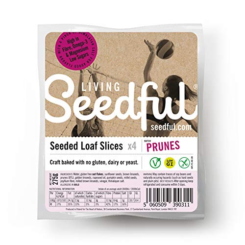7 x 275g SEEDFUL Loaf Slices with Plums ( 4 Slices Each ), Wellbeing, Gluten Free, Wheat Free, Vegan, Vegetarian, Seeded Bread, Fiber, Protein, Magnesium