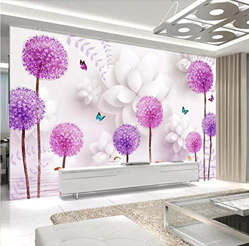XUNZHAOYH Mural 3D Pared,Foto Tapiz Personalizado 3D Flor Púrpura Jaramago Filigranado Salón TV 3D Fondo De Papel De Pared Papel De Parede,300(W) X200Cm(H)(9.1X6.7) Ft